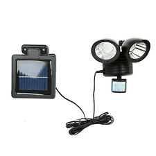 Motion Sensor Light Dual Head Security Floodlight 22 LED Outdoor Solar Power BLK