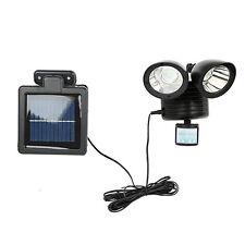 Solar Power Motion Sensor light 22 LED Dual Head Outdoor Security Floodlight BLK