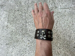 Custom made leather scull and bones wristband