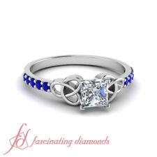 Platinum Princess Cut Diamond & Sapphire Gemstone Irish Engagement Ring 0.65 Ctw