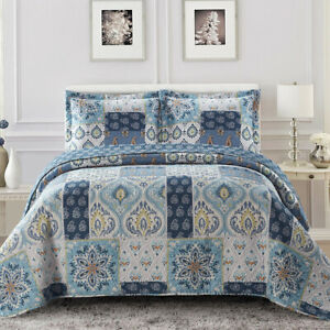 Bellflower Blue Reversible Lightweight Bedspread Over-Sized 3pc Quilt Set