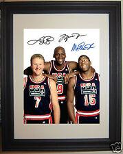 Michael Jordan Larry Bird Magic Johnson Autograph Dream Team Framed Photo # h1