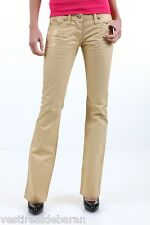 Pantaloni Donna Jeans SEXY WOMAN B585 Gamba Dritta Ecopelle Beige/Oro Tg 26 27