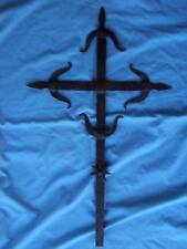 vintage Antique FORGED IRON Decorative WALL CROSS Gothic