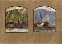 """11Russischer Realist Expressionist Öl Leinwand """"Schiffe"""" 81 x 60 cm"""