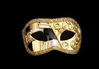 Maschera Di Venezia Columbine Art Deco Nero Autentica Carta Cartapesta 264