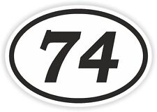 74 SEVENTY-FOUR NUMBER OVAL STICKER bumper decal motocross motorcycle Aufkleber