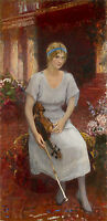 Beautiful Oil painting young woman Cecilia Hansen with violin in landscape