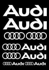 Kit de 10 Sticker Autocollant Audi Blanc a02