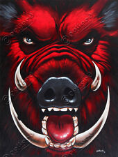 Raging Hog pollard 17x23 signed art PRINT wild feral pig