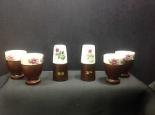 Vintage 6PC TABLETOP BREAKFAST Set with Covers, Porcelain & Walnut