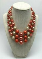 Vintage Orange White Faux Pearl Bead Necklace Three Strand