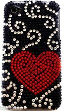 iPhone 4 Cover with Bling Diamante Red Heart and Black Design