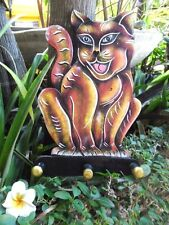 Cat Plaque - hand carved in Bali with 3 wood hanging pegs - wall hanging
