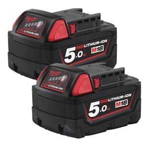 Milwaukee M18B5 18V 5Ah Batteries - Pack of 2, Red Lithium Ion Technology, Overl