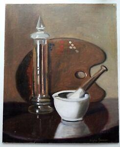 DAPHNE JAMESON OIL ON CANVAS BOARD STILL LIFE 'THE ARTISTS PALETTE' (b. 1942)