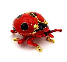 Ladybug Jewelry Trinket Box Bejeweled Moveable Wings Decorative Collectible NIB