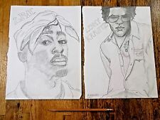 2 ROCK HIP HOP UNIQUE ART OUTSIDER ART LENNY KRAVITZ/ TUPAC by Artist R. Grenier