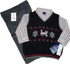Shirt Pants Vest BOYS 3 PC Set DRESS UP Outfit Suit Sweater Holiday Train Fire T