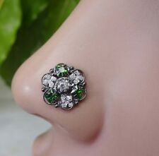 Emerald Stone Nose Stud Indian Nose Ring Black Nose Piercing Diamond Nose Stud