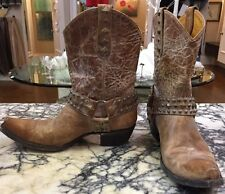 "Old Gringo Studded 10"" Cowboy Western Harness Tan Leather Boots Sz 9 Cowgirl"