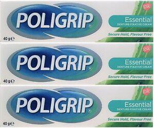3 x 40g Poligrip Flavour Free Denture Fixative Cream Polygrip Essential