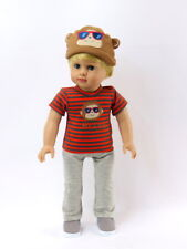 "Monkey Mr Cool 3pc Pant Set Hat Fits 18"" American Boy or Girl Doll Clothes"