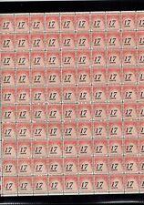 #J104  Postage Due Full Mint Sheet of 100 dull gum MNH OG 17¢ off center