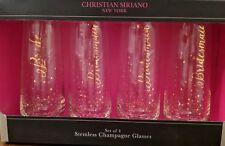 Champagne Glasses -Gold Confetti - Bridal Bachelorette Party -Bride & Bridesmaid