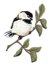 Chickadee On A Branch - Bird - Embroidered Iron On Applique Patch