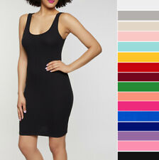 Women's Basic Sleeveless Tank Dress Soft Stretch Cotton Casual Mini Bodycon