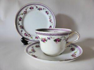 Antique Paragon China Trio, Floral Tea Cup, Saucer, Cake Plate, 1900s Teacup Set