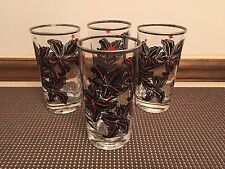 "Set of 4 ~ Black / Red Floral w/Stars w/Silver Rim ~ Glass Tumblers  ~ 5"" Tall"