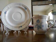 Jardin Bleu Cup & Saucer Set Brick Oven Rose Stoneware White Blue Flower !