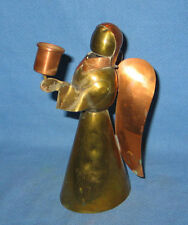 """7"""" Handmade Angel Candle Holder Brass & Copper Made in Mexico - FREE SHIPPING"""