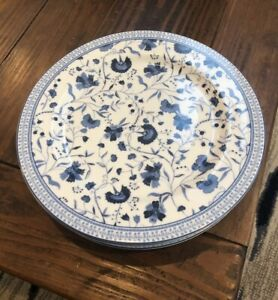 """Ralph Lauren Macao Salad Plate 8.5"""" White Blue Floral Set Of 4 NEW"""