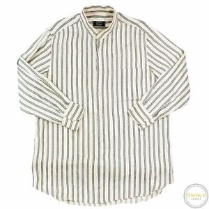 Stefano Ricci Tan Grey 100% Silk Striped Jacquard Glossy Band Collar Shirt 16.5