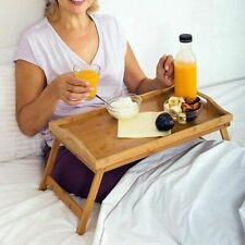 Bamboo Wooden Bed Tray Folding Legs Serving Breakfast Lap Tray Table AU Stock