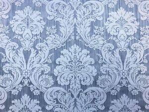 Kravet Blue Cotton Strie Damask Upholstery Drapery Fabric