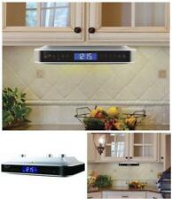 Under the Cabinet FM Radio Kitchen Counter w/ Bluetooth Stereo Speakers & Clock