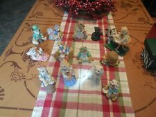 Vtg Enesco Lot Of 13 Calico Kittens Figurines By Priscilla Hillman