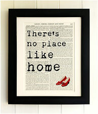ART PRINT ON OLD ANTIQUE BOOK PAGE *FRAMED* There's no place like home oz quote