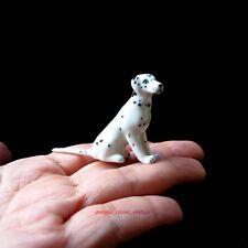 New Dollhouse Miniature Dalmatian Dog Ceramic Figurine Sculpture Hand Painted