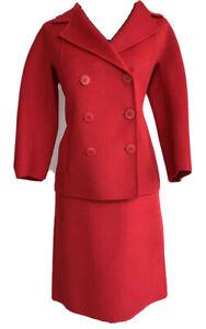 Talbots Women's Wool Blend Solid Red Career Skirt Suit Jacket sz 8 Skirt sz 6