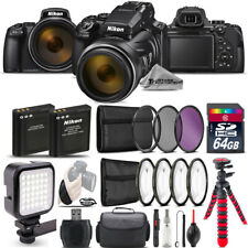 Nikon COOLPIX P1000 Digital Camera 125x + LED +7PC Filter +EXT BAT -64GB Bundle