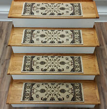 """Rug Depot Set of 13 Traditional Non Slip Carpet Stair Treads 26"""" x 8"""" Ivory"""
