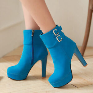 Women's Winter Ankle Boots Platform Zipper Chunky High Heels Booties US 6 Blue