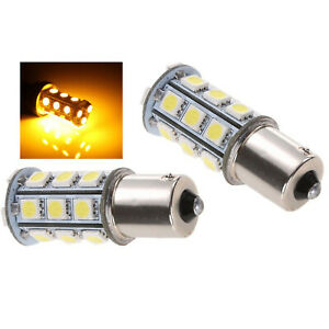 #1156 18SMD Amber Yellow LED Park Parking Tail Light Turn Signal Lamp Bulbs Pair