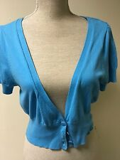 Women Cardigan By George Thin Blue Knit Short Size 12 (7)