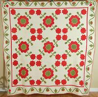 ELEGANT Vintage PRE CIVIL WAR 1850's English Rose Applique Antique Quilt!